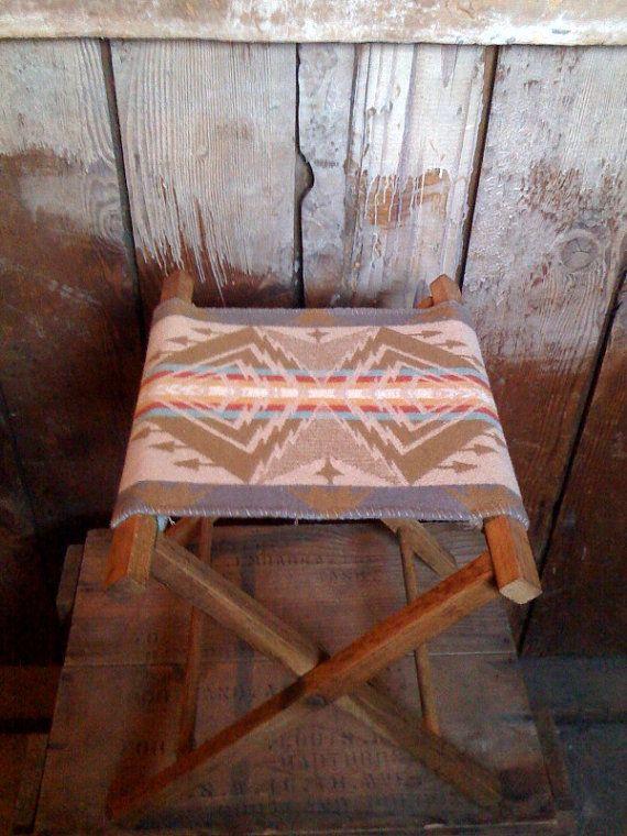 Vintage Oak Camping Stool Pendleton Wool Native American
