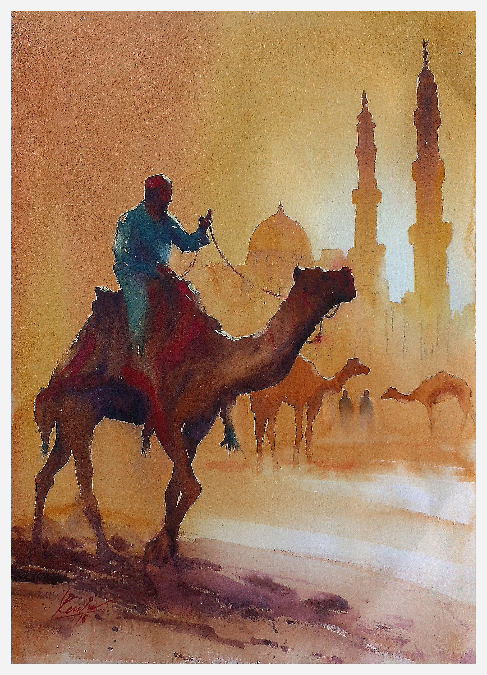 Artstation Watercolor Paintings Mv Renju Watercolor Paintings Nature Islamic Paintings Egyptian Art