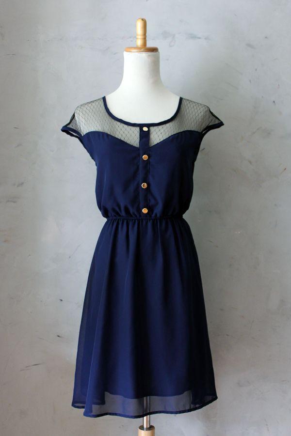 Petit Dejeuner Dress in Navy Blue