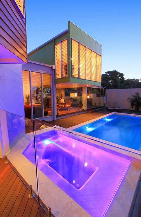 Modern glass house with tropical pool and led lights kbhome
