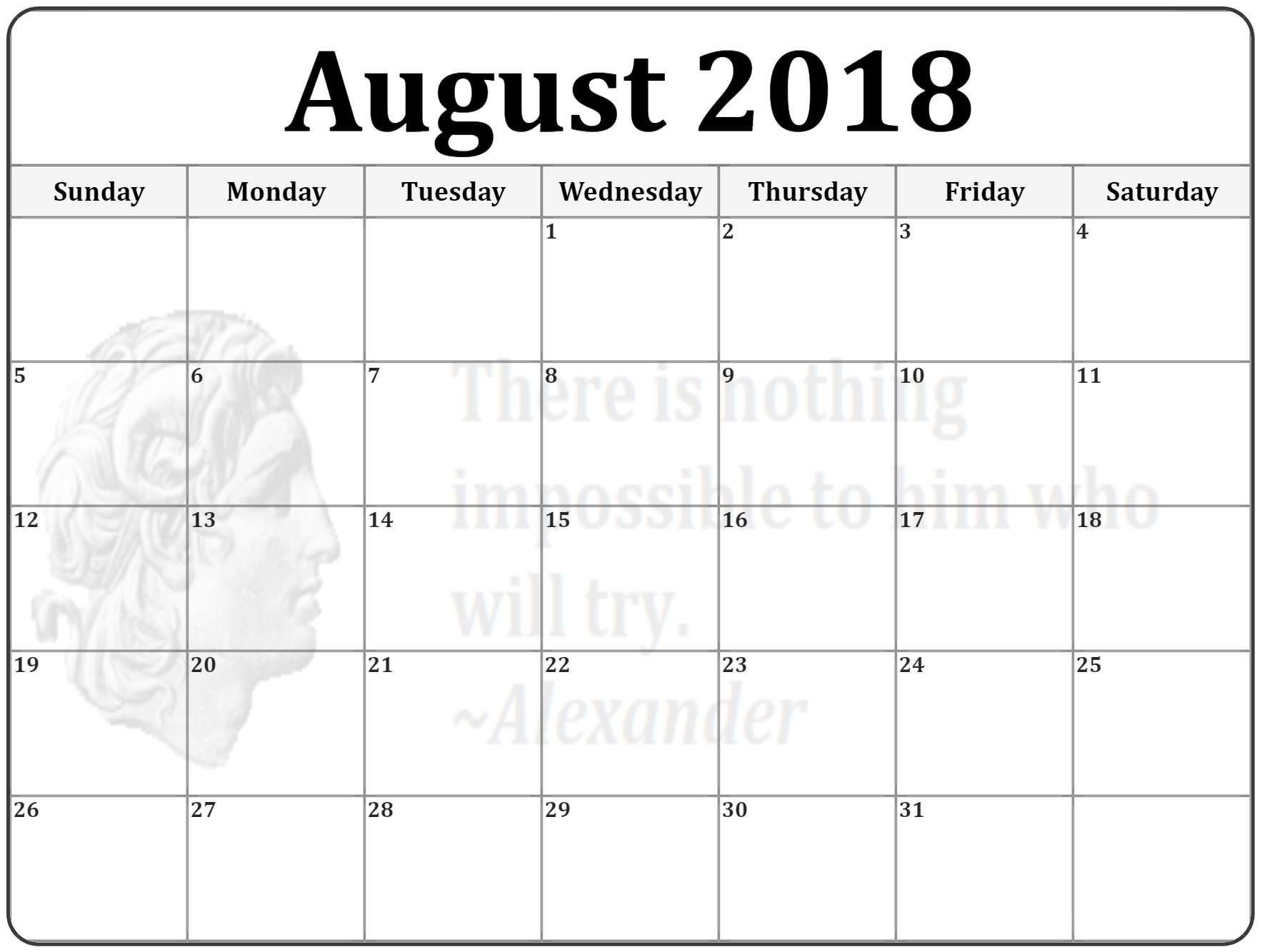 Blank Calendar August Worksheet