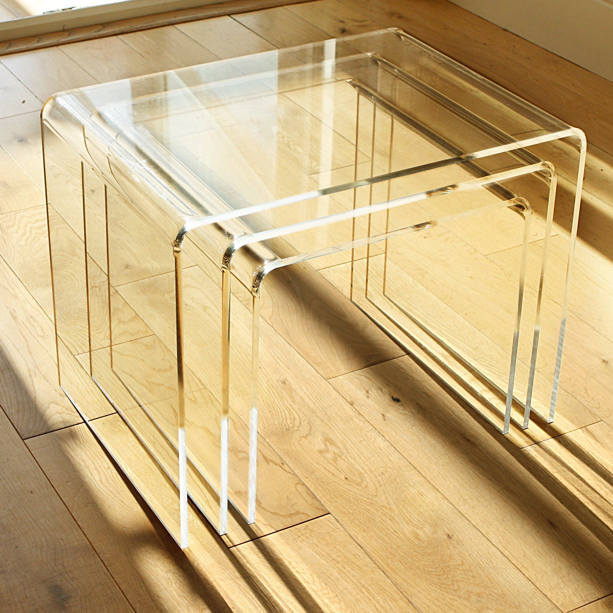 NEST OF 3 TABLES - 8mm Clear Acrylic, Diamond Polished ...