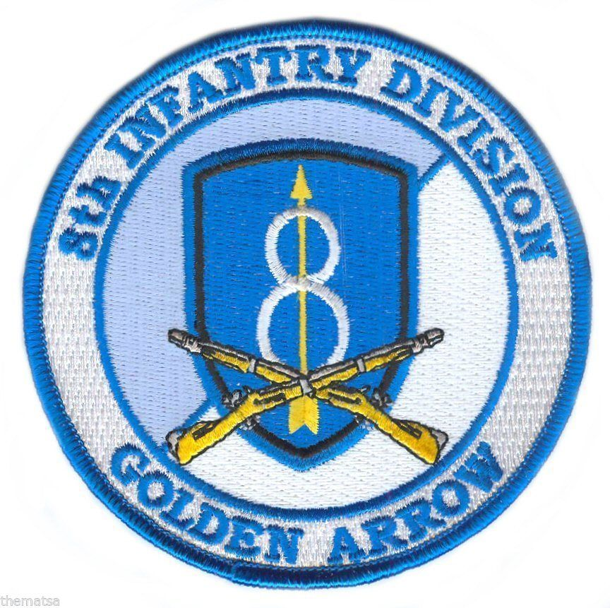 """ARMY 8TH  INFANTRY DIVISION GOLDEN ARROW 4/"""" EMBROIDERED CROSSED RIFLES  PATCH"""