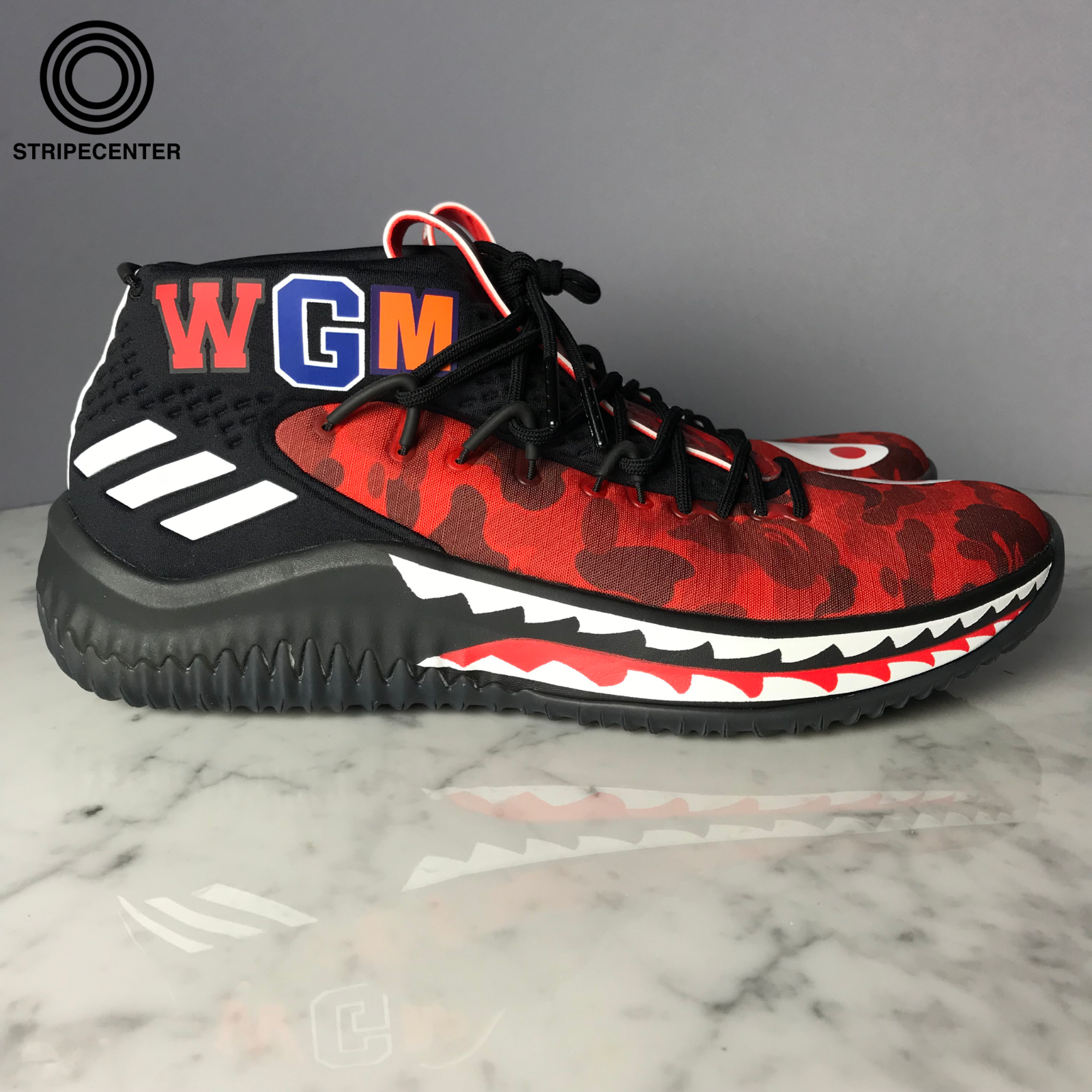 wholesale dealer 975b8 60144 adidas DAME 4 X A BATHING APE - BLACK RED WHITE