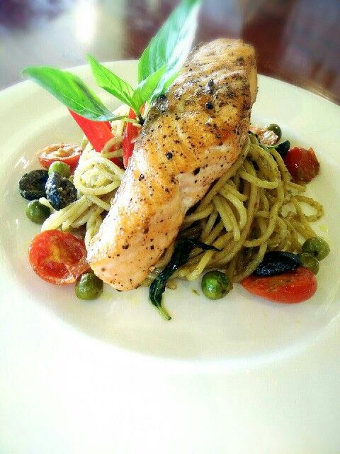 """Salmon Green Spaghetti"" grilled salmon filet with Thai green curry spaghetti."
