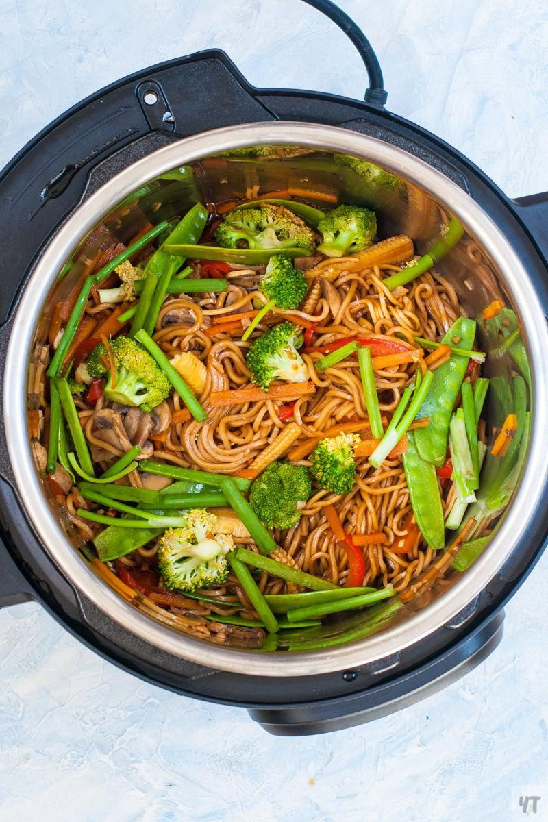 instant pot lo mein  asian noodles with lots of veggies