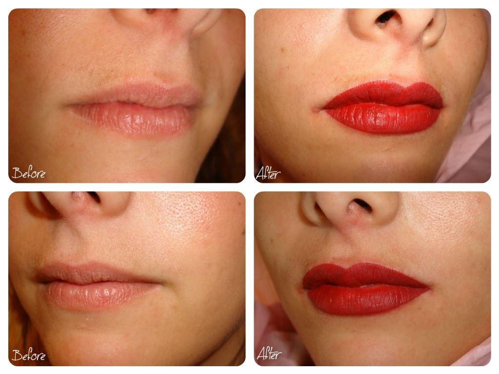 Before after semi permanent makeup lips permanent