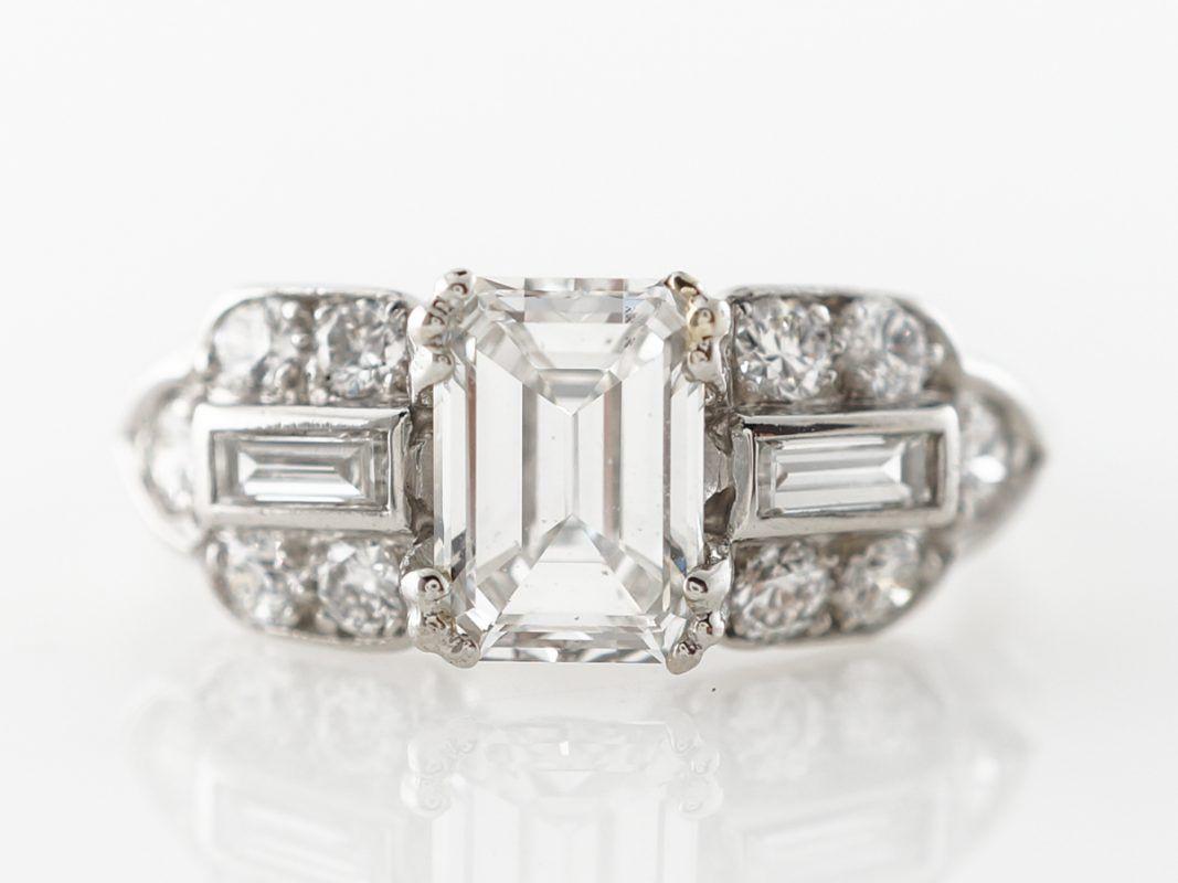 Photo of 1 carat diamond art deco engagement ring in emerald cut, platinum – 1 carat dia …
