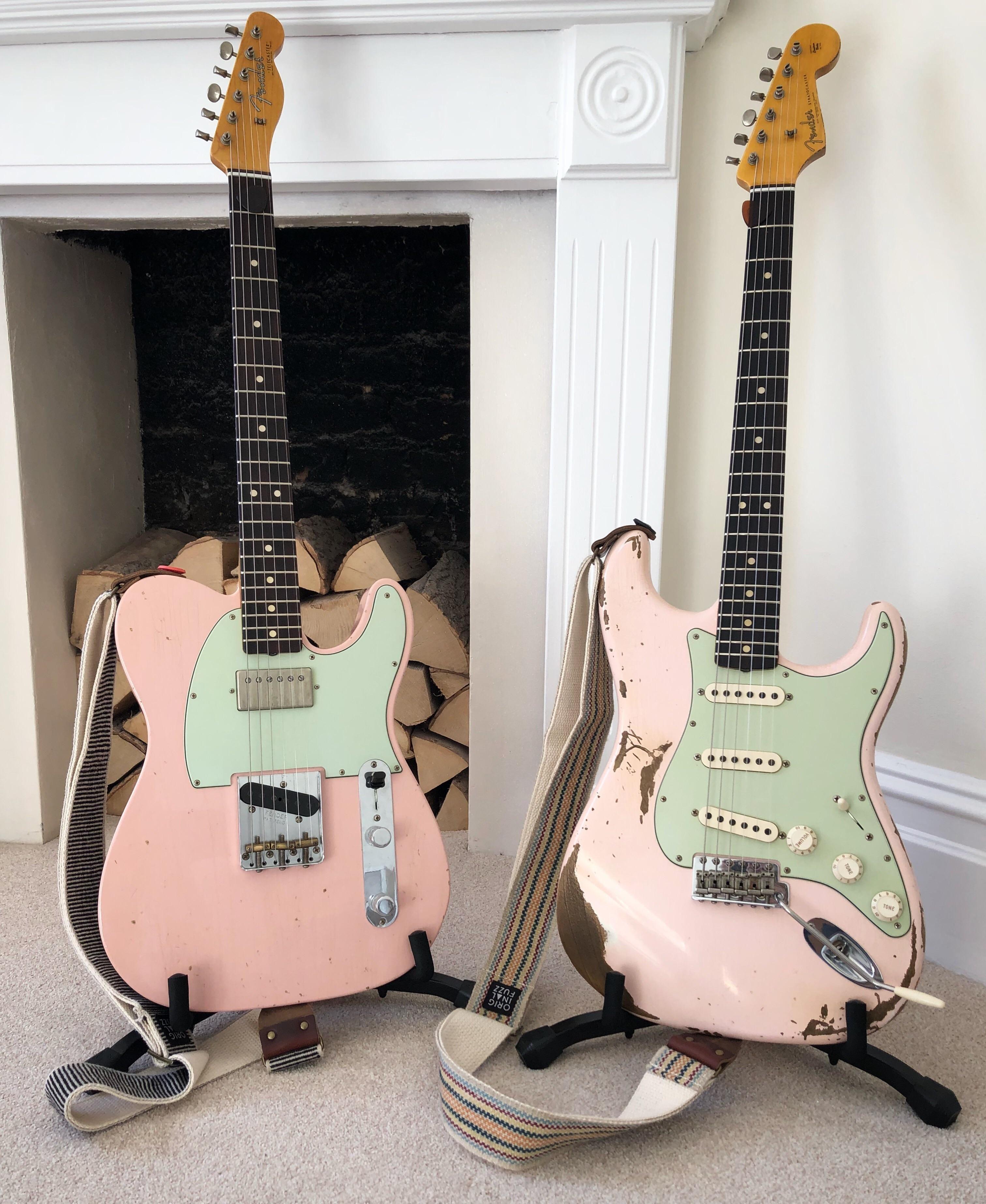 My Two Shell Pink Fender Guitars Fender Guitars Guitar Stratocaster Guitar
