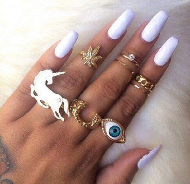 beautiful girls hand jewelry nail ring white Ring