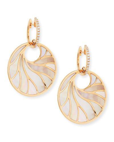 Frederic Sage Medium Pink Mother-of-Pearl & Diamond Venus Earrings O0ROf