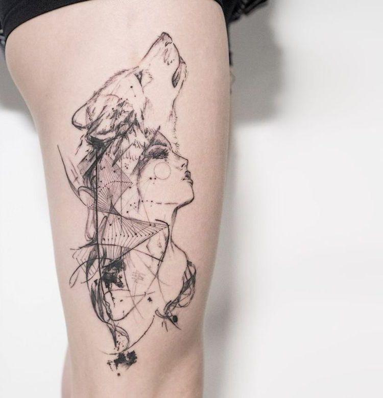 Tatouage loup femme connotations et 40 id es sur les emplacements et les dessins tatouage - Tatouage systeme solaire ...