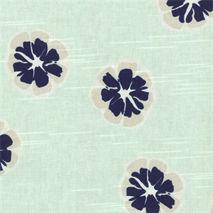 This Is A Mint Green Navy Blue And Gray Cotton Floral Drapery