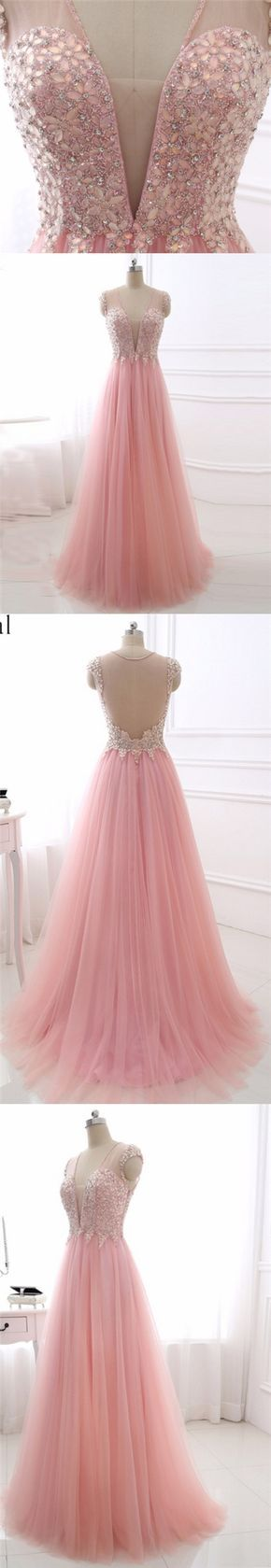 Pink Chic Prom Dresses V-neck Floor-length Tulle Rhinestone Prom Dress/Evening Dress JKS125
