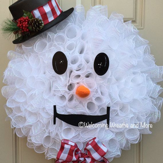 Snowman Wreath Deco Mesh Snowman Wreath Christmas Wreath Winter
