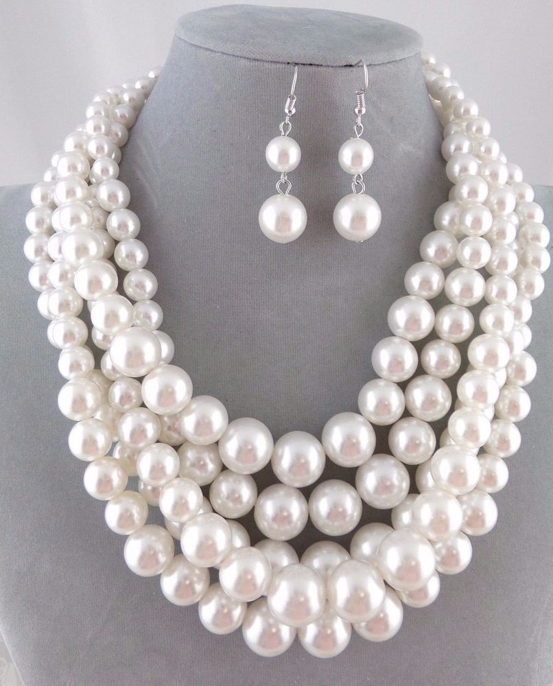 Chunky Layered White Pearl Necklace Set Silver Fashion Jewelry NEW #Passion
