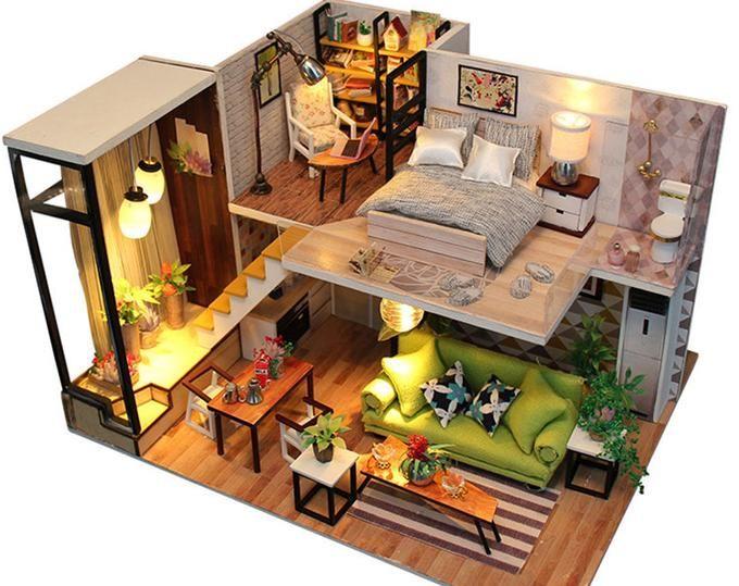 2 Storey Modern DIY Doll House Maison miniature meublée w/ | Etsy