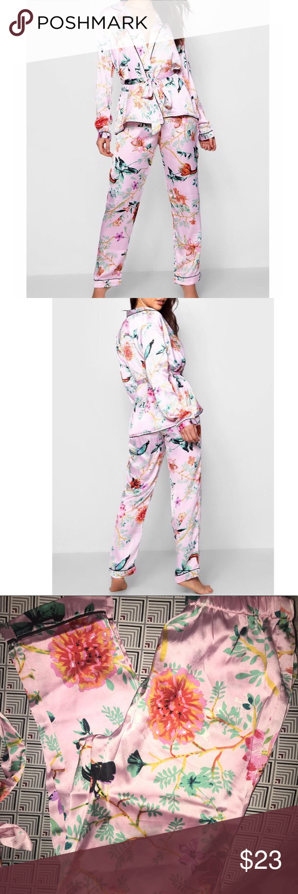 d93838e8469 Boohoo Floral Satin Pajama Set Wrap front belted PJ Brand new with tags  Pink Floral Satin