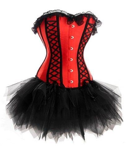 Women Red/&Black Burlesque Tops Corsets Basques Tutu/&kirt Dresses Costume Outfit