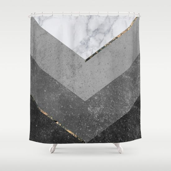 Marble Gray Copper Black Gold Chevron Shower Curtain