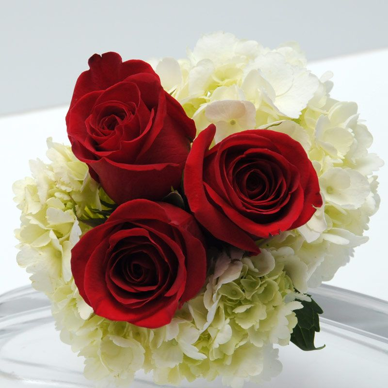 Three Rose Bouquet Hydrangea Red Red Rose Bouquet Wedding Flower Bouquet Wedding Red Rose Wedding