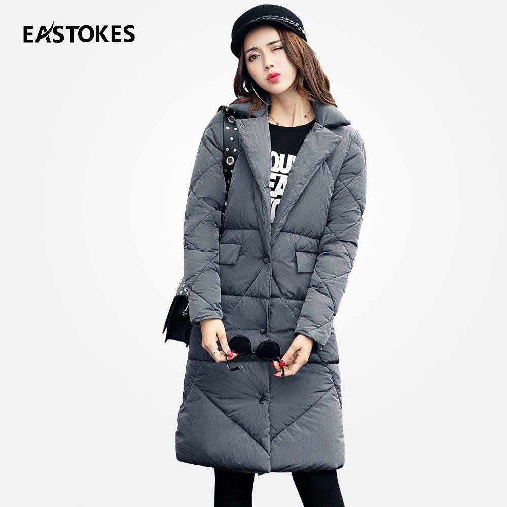 efa731c1493 2017 Fashion Women Winter Coats Lapel Neckline Slim Fits Ladies Jacket  Casual Mid-Length Parkas
