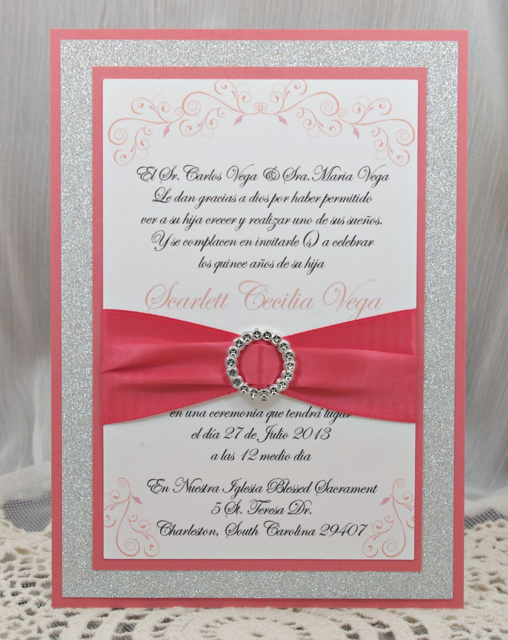 Coral Peach Quincea eraSweet Sixteen Invitation by