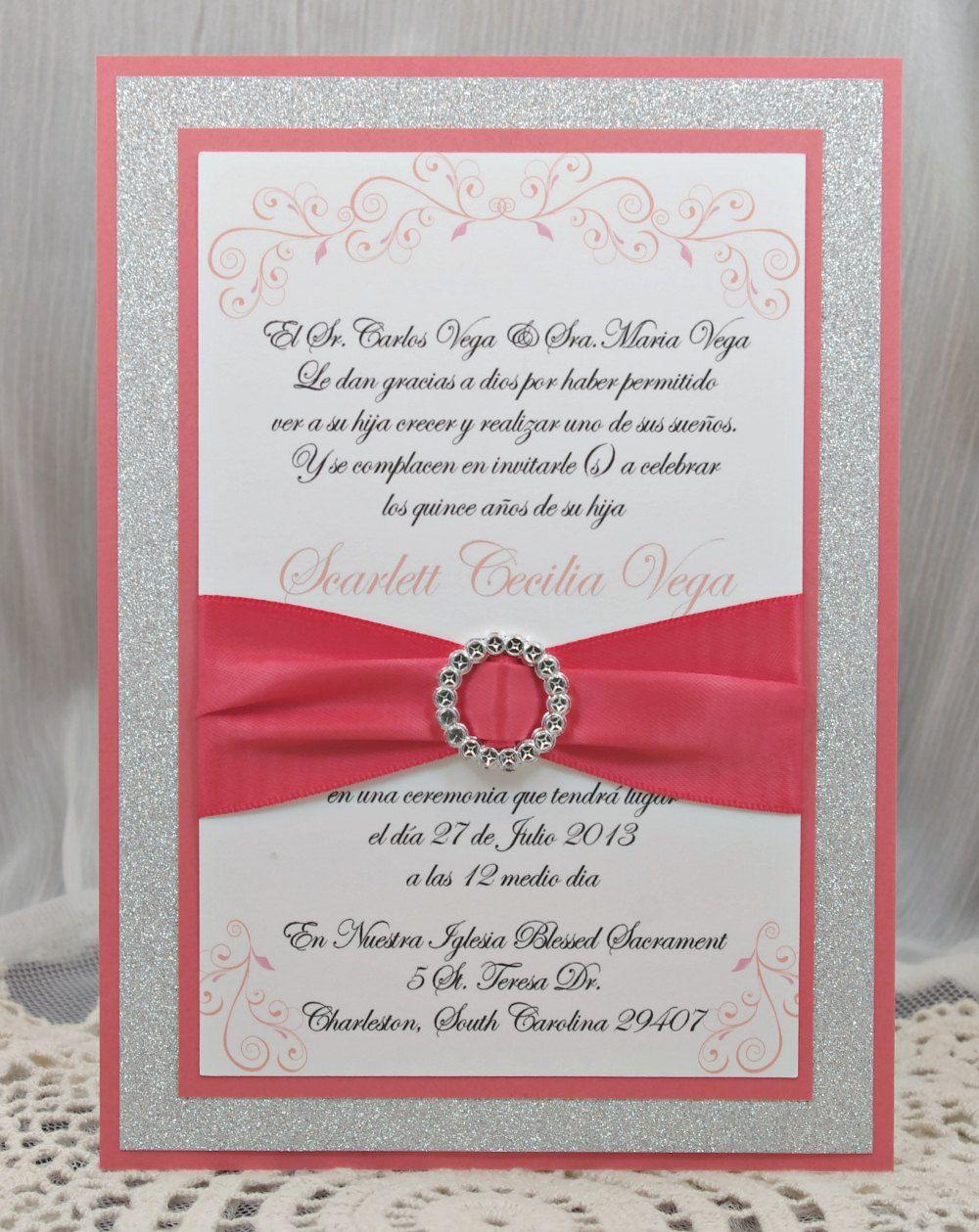 Coral Peach Quincea era/Sweet Sixteen Invitation by InviteBling ...