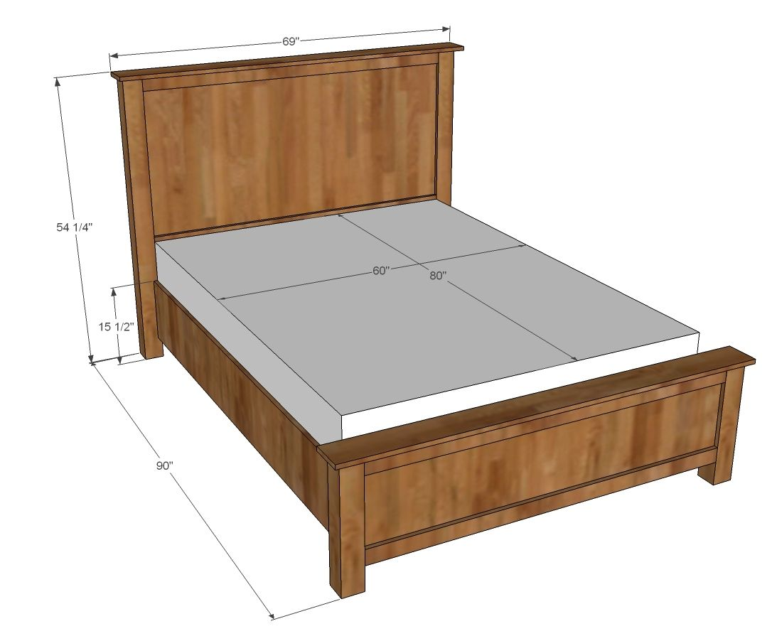 Wood Shim Cassidy Bed QUEEN Bed frame plans, Wooden