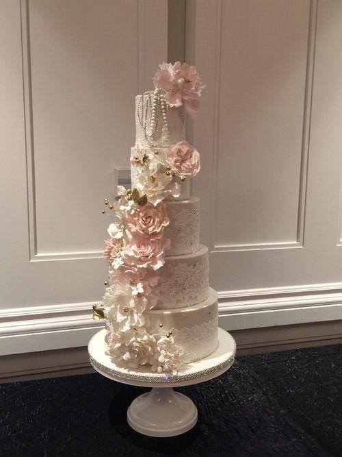Blush White Sugar Flower Cascade Rhinestone Lace Wedding Cake Grace And Honey Cakes Orange County California