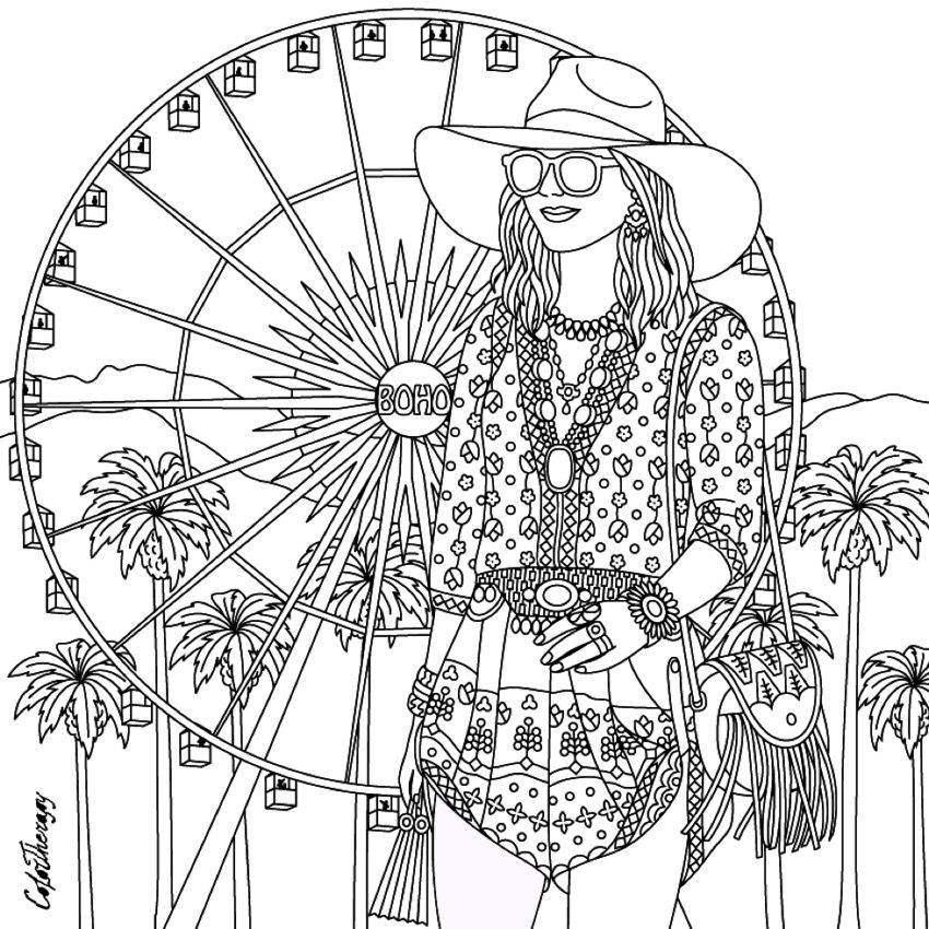 Gorgeous hippie boho girl coloring page hippie art for Hippie coloring book pages