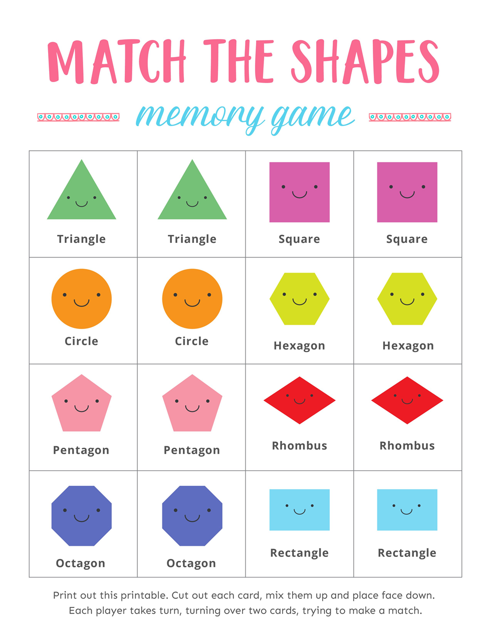 Free Printable Match The Shapes Memory Games For Kids Shape Games For Kids Memory Games For Kids Memory Games [ 1268 x 980 Pixel ]