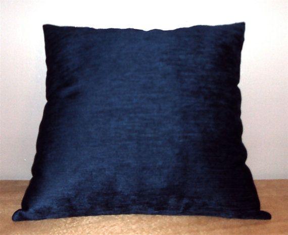 Lush Navy Blue Velvet Chenille Pillow Cover In 18x18 and