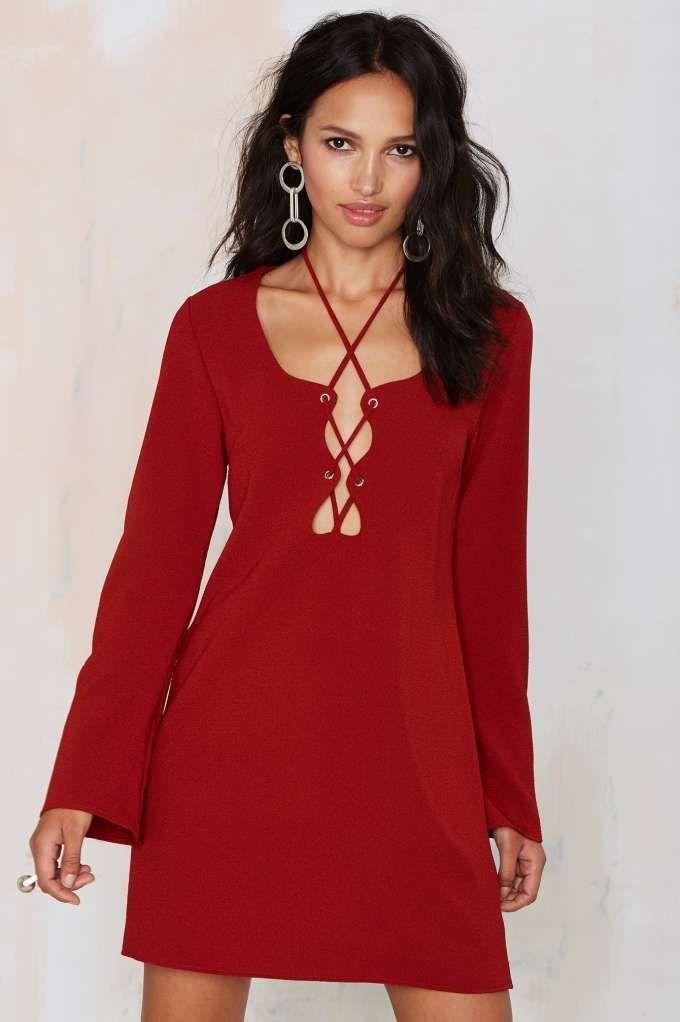 The Nasty Gal Mercedes Binge Lace-Up Dress is a burgundy dream.