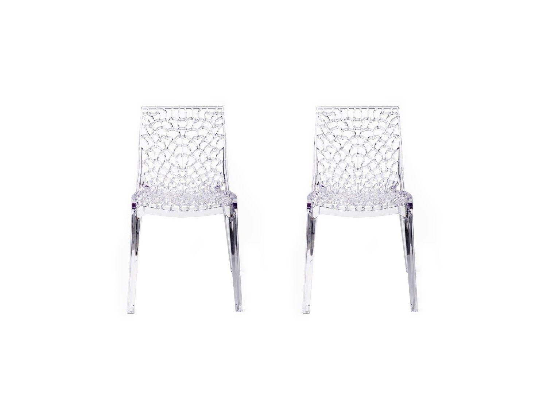 Lot de 2 chaises empilables DIADEME Polycarbonate plein Cristal