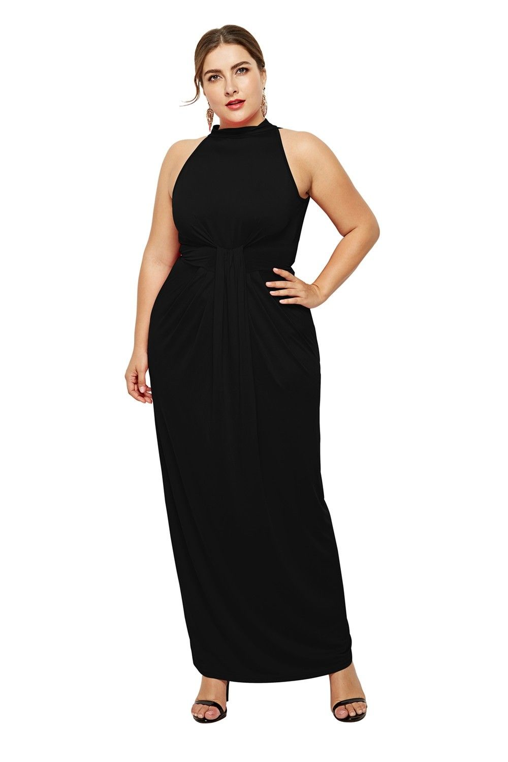 1005488b0ddf1 High Neck Sleeveless Black Jersey Sheath Spring Fall Plus Size Woman ...
