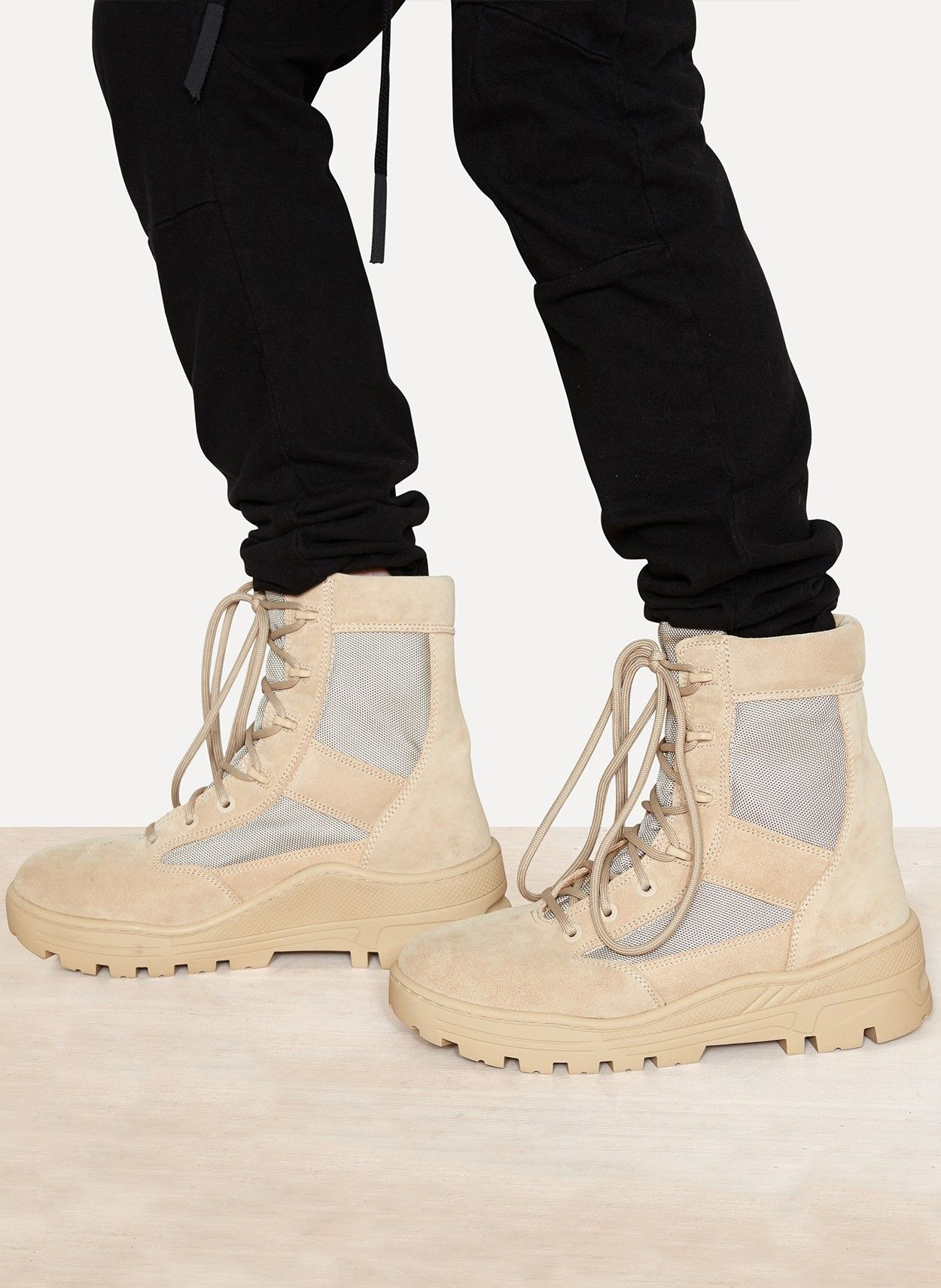 b4f98cf6e44b6 Yeezy by Kanye West Season 4 Mens Combat Boot Crosta Light Sand Calfskin  Suede
