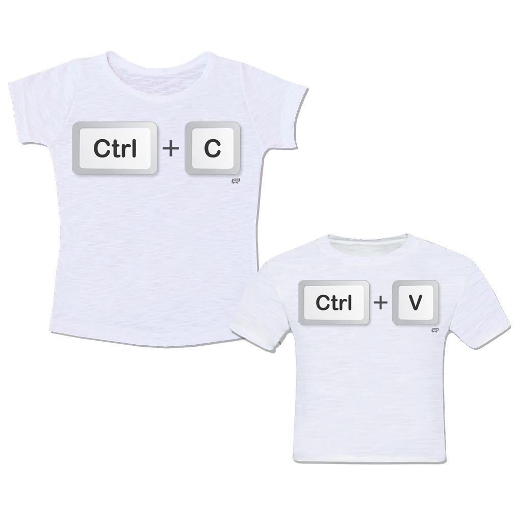 52e2d31b8 Camiseta Mãe e Filho Filha Super Mãe Super Filho Teclado Tecla Computador Ctrl  C Ctrl V