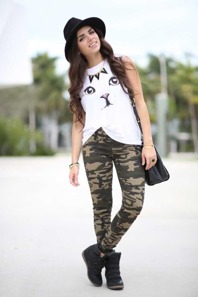 25 Formas Chic De Usar Un Pantalon Militar Pantalones Camuflados Mujer Pantalones Militares Pantalones Verdes Militares