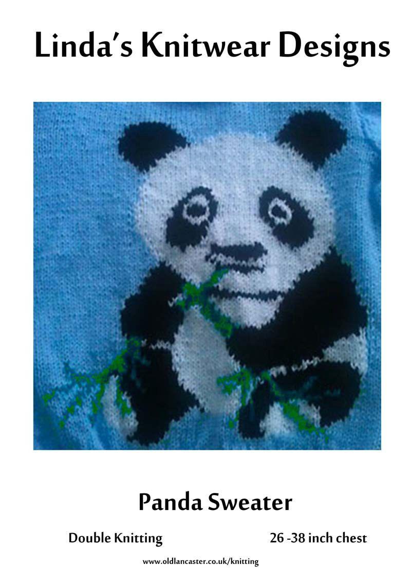 Adult & child\'s Panda motif sweater knitting pattern - sizes 26 to ...