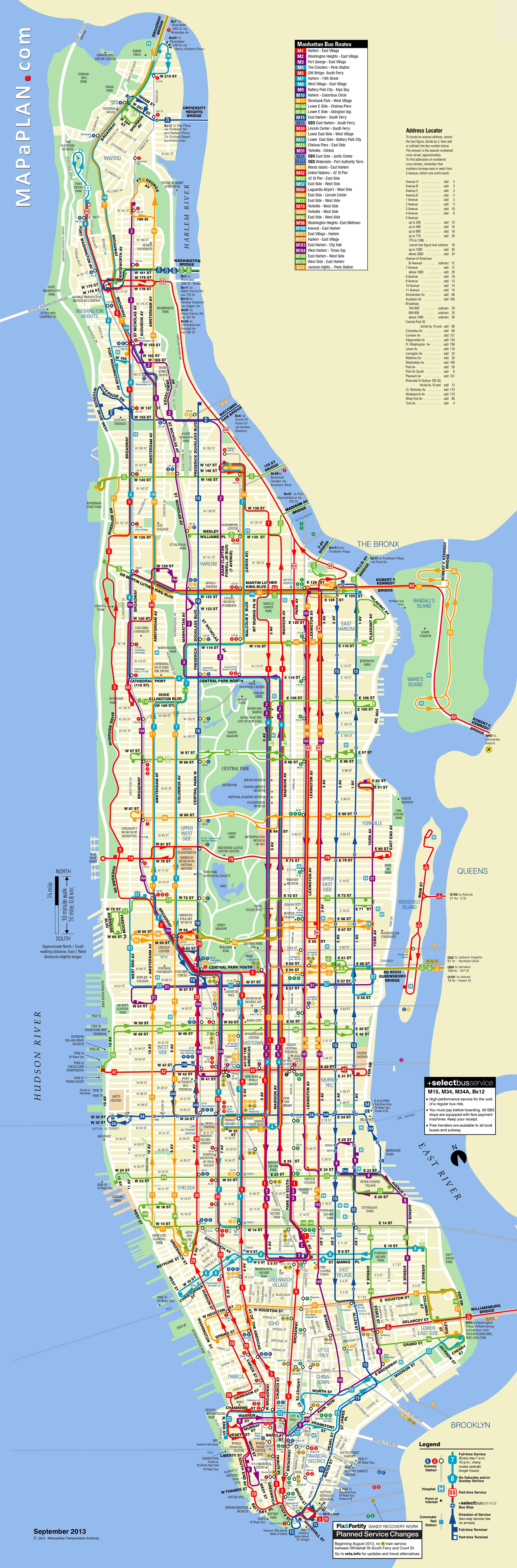 Manhattan Bus Travel Routes New York Top Tourist Attractions Map