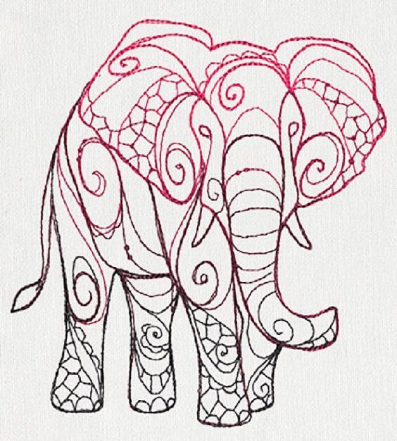 The Delicate Ones - Elephant Embroidered Cotton Kitchen Dish Towel ...