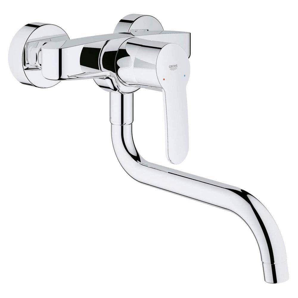 Grohe Eurostyle Cosmopolitan Wall Mounted Kitchen Sink Mixer 33982002 Wall Mount Kitchen Faucet Grohe Kitchen Sink [ 1000 x 1000 Pixel ]