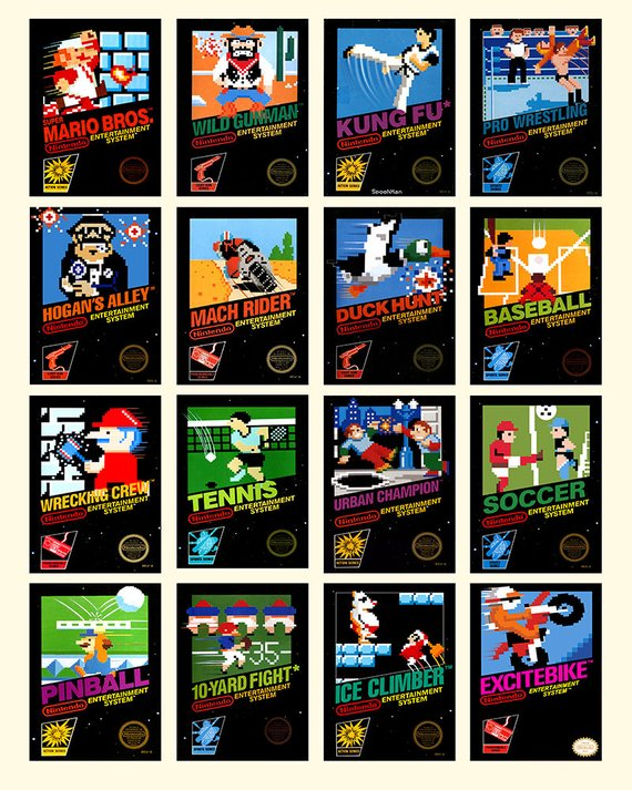 Nintendo 8 Bit Video Game Cover Poster Collection Of Vintage Etsy Vintage Video Games Vintage Videos 8 Bit