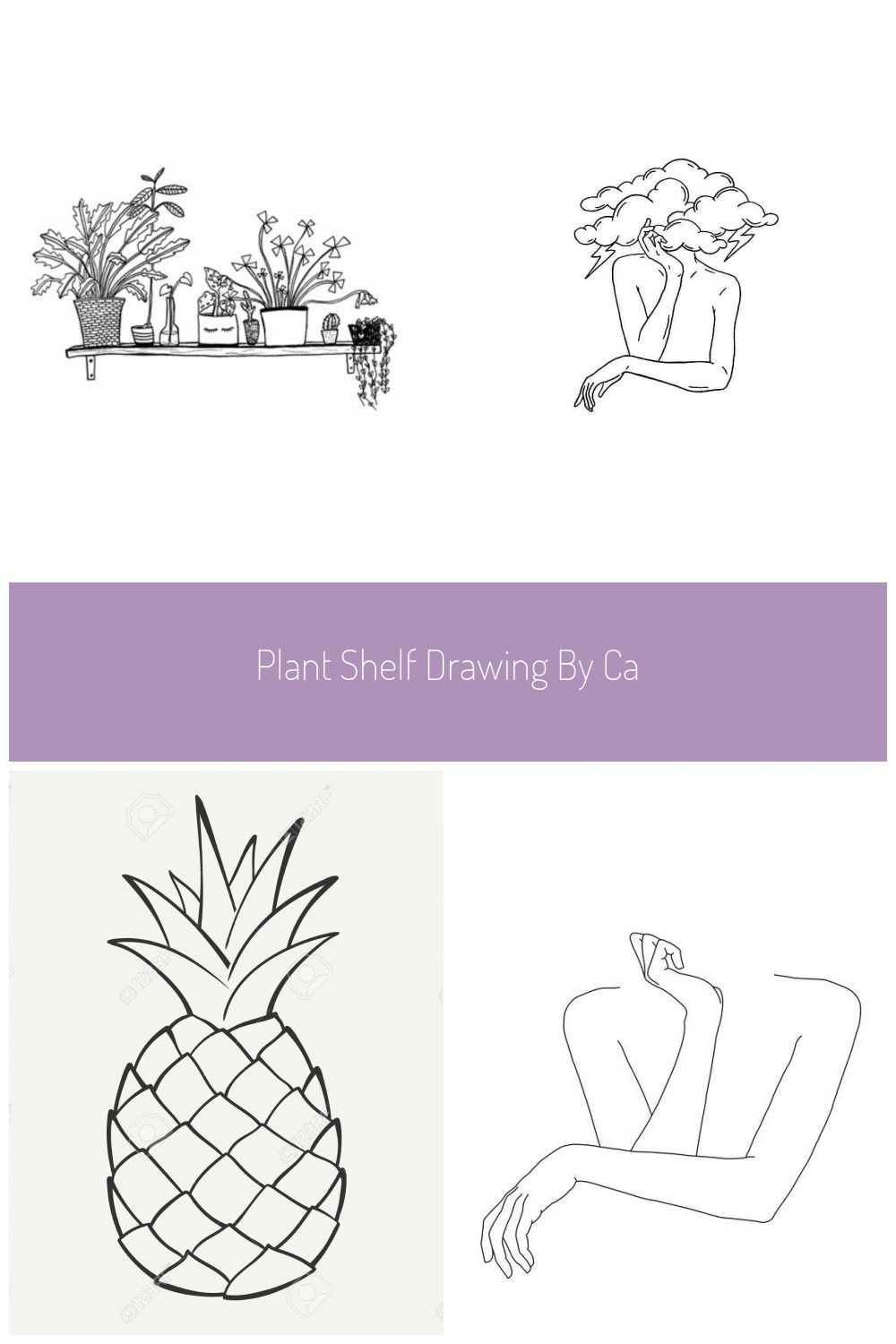 Plant shelf drawing by Carissa Tanton Available as a print on Etsy Botanical illustration Black and white line drawing Crazy plant lady black and white House Plant Shelfi...