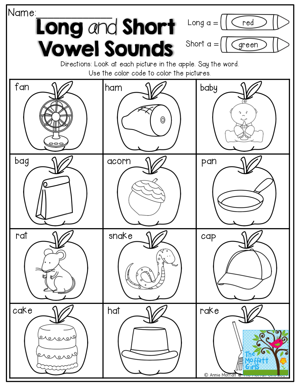 Long and Short Vowels Color by the code Word work
