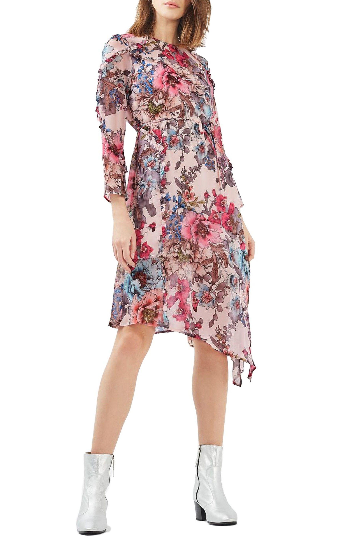 Main Image - Topshop Pop Floral Ruffle Midi Dress