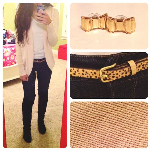 OOTN! Pinky beige (the color is washed out in the photo), boyfriend cardigan, Dark wash jeans, Leopard print belt, Black boots, Kate Spade bow earrings!