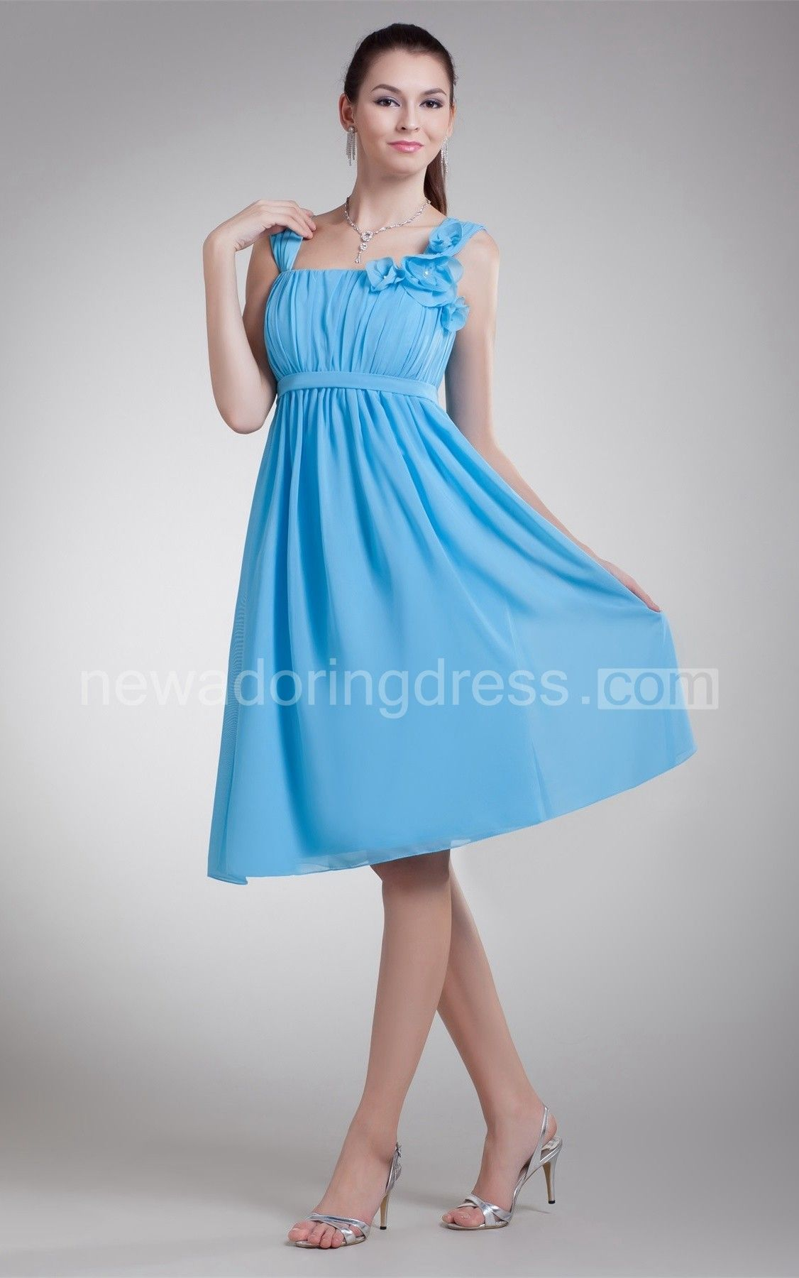 Strapped Chiffon Knee-Length Dress with Flower and Pleats ...