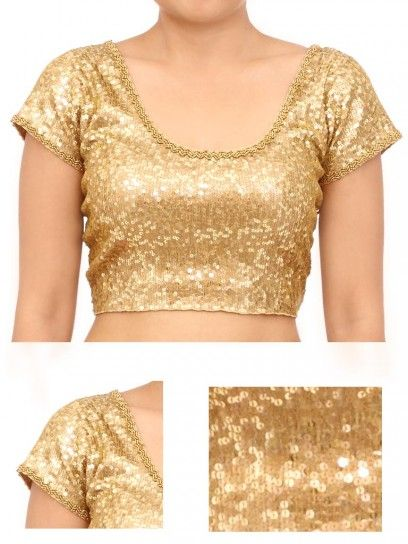 7cbbb5fb89030f Golden stretchable Sequin Blouse | Indian Wear | Blouse designs ...